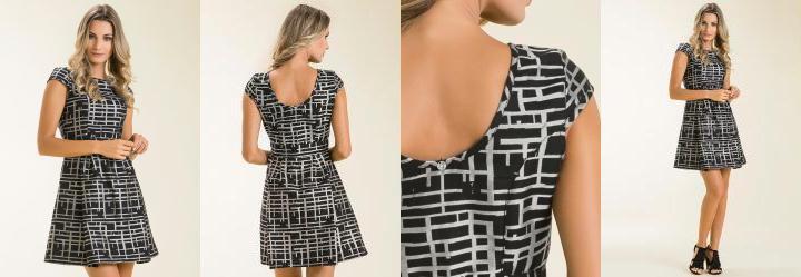 Vestido Estampa Grid