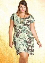 Vestido com Estampa Tropical Plus Size