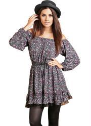 vestido estampado modelo ciganinha com renda