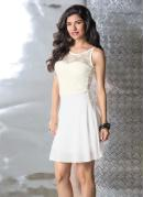 Vestido �vase Branco Detalhe Renda nas Costas