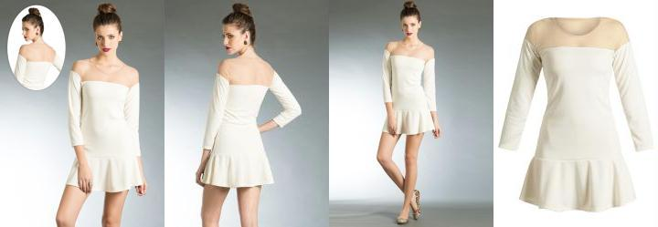 Vestido Decote Transparente Off-White