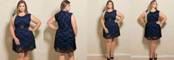 Vestido em Renda Plus Size Preto e Azul