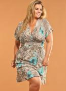Vestido Decote V Plus Size  Estampado com Flores