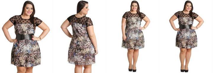 Vestido Plus Size Estampa Folhagens