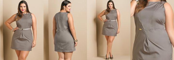 Vestido Estilo Alfaiataria Plus Size Cinza
