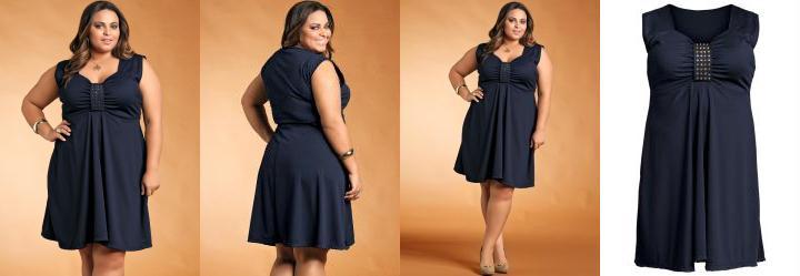 Vestido Plus Size com Detalhe de Tachas Marinho