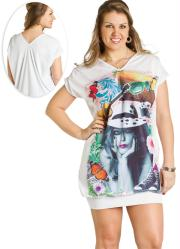 Vestido Plus Size com Estampa Frontal Branco