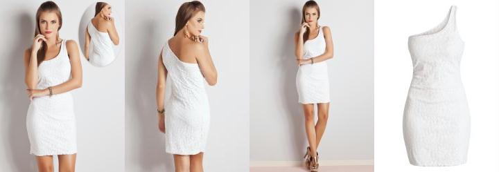 Vestido Renda de um Ombro Só Branco