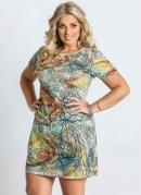 Vestido  Estampa Abstrata  Plus Size