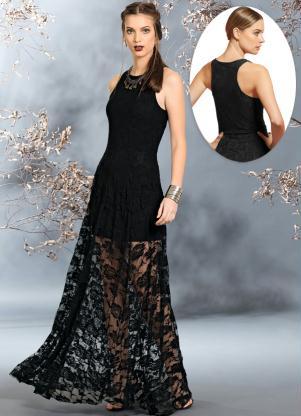 Vestido de renda longo ta na moda