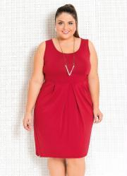 Vestido Vermelho com Drapeado Frontal