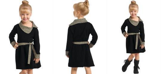 Vestido Infantil Preto e Onça