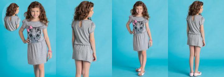 Vestido Infantil El�stico na Cintura Mescla