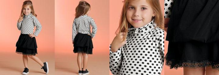Vestido Infantil Manga Longa Preto e Poá