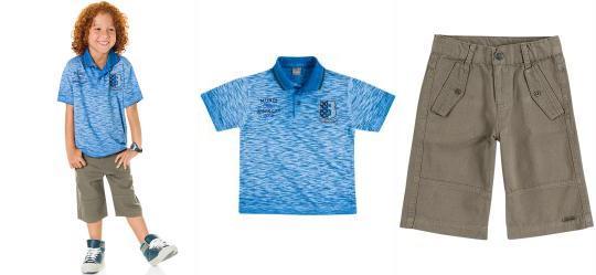 Conjunto Polo e Bermuda Brandili Mundi Azul