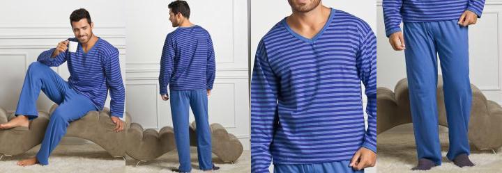 Pijama Longo Masculino Azul