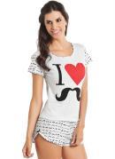 Pijama Feminino  Branco Estampado
