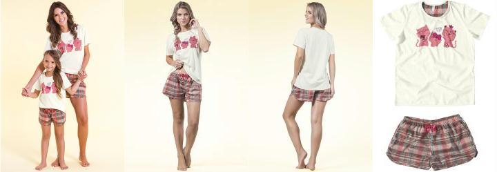 Pijama Xadrez em Algod�o Bege Liberta