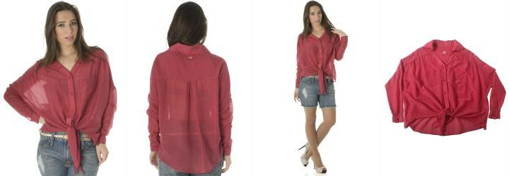 Camisa Feminina Manga Longa Vermelho Triton