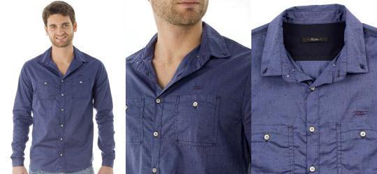 Camisa Masculina Tricoline Azul Triton