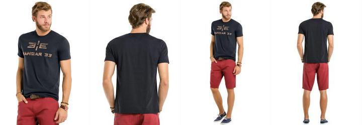 Camiseta Bordado Camuflado Hangar 33 Cinza