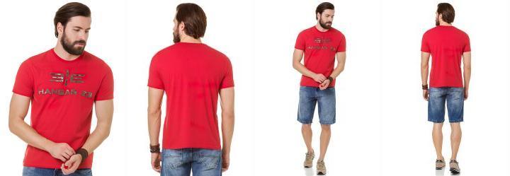 Camiseta Bordado Camuflado Hangar 33 Vermelho