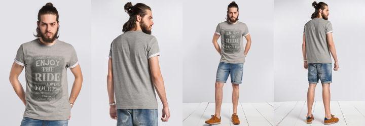 Camiseta Slim com Estampa Cinza Enfim