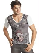 Camiseta Decote V com Estampa Frontal  Branco