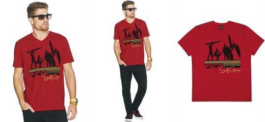Camiseta de Malha Flam� Vermelho Intenso