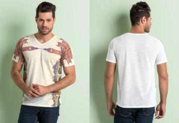 Camiseta Estampa Frontal Espelhada Branca