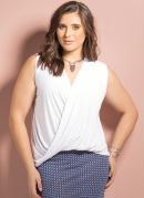 Blusa Decote Transpassado Branca Plus Size