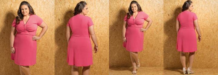 Vestido Decote com Franzido Coral Plus Size