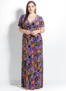 Vestido Longo Floral Decote V Plus Size