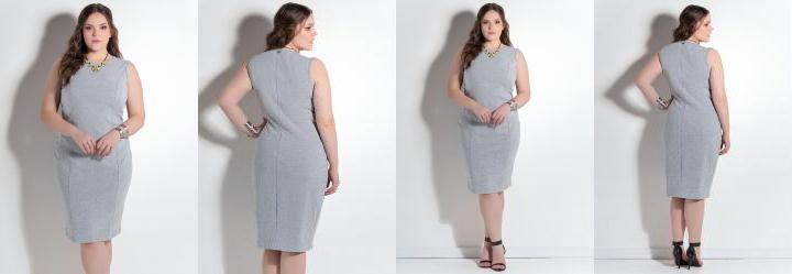 Vestido Midi Tubinho Mescla Plus Size